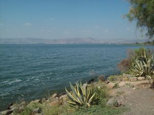 Standing on the shore of the Sea of Galilee